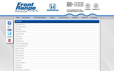 Screenshot of Site Map Page frontrangehonda.com - Front Range Honda | New Honda | Sitemap - captured Sept. 30, 2014