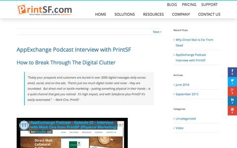 Screenshot of Blog printsf.com - AppExchange Podcast Interview with PrintSF - PrintSF - captured July 16, 2016
