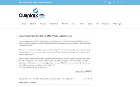 Screenshot of Blog quantrax.com - Collection Software by Quantrax - captured Oct. 3, 2014