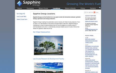 Screenshot of Locations Page sapphireenergy.com - Locations - captured Sept. 17, 2014