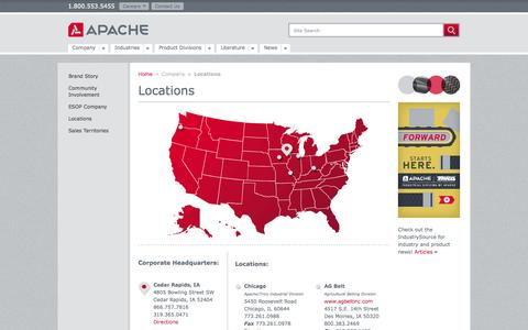 Screenshot of Locations Page apache-inc.com - Apache - Locations - captured Sept. 30, 2014