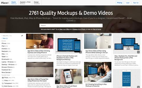 Screenshot of Home Page placeit.net - (2761) Free Mockup Generator | Placeit - captured Sept. 2, 2017