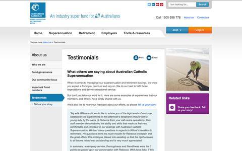 Screenshot of Testimonials Page catholicsuper.com.au - Testimonials | Australian Catholic Superannuation - captured Feb. 6, 2016