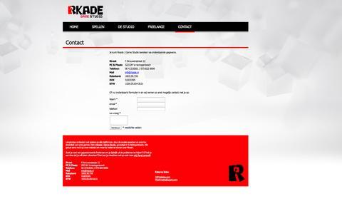 Screenshot of Contact Page rkade.nl - Contact   Rkade Game Studio - captured Oct. 25, 2014