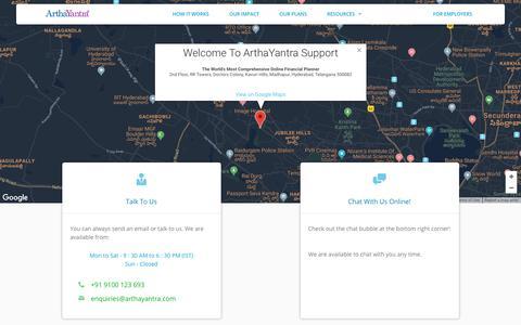 Screenshot of Contact Page FAQ Page Support Page arthayantra.com - Support | ArthaYantra - captured July 30, 2018