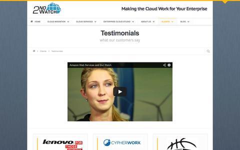 Screenshot of Testimonials Page 2ndwatch.com - Testimonials • 2nd Watch - captured Oct. 10, 2014