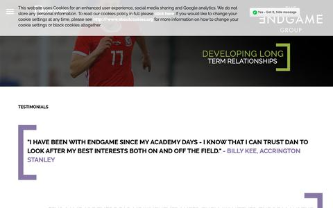 Screenshot of Testimonials Page endgamegroup.com - Testimonials for Endgame Group | A Leading Innovator in Sports Management - captured Oct. 18, 2018