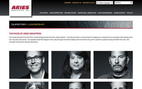 Screenshot of Team Page ariesindustries.com - Leadership - Aries Industries, INC. - captured Oct. 7, 2017