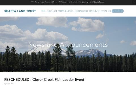 Screenshot of Press Page shastalandtrust.org - News and Announcements — Shasta Land trust - captured May 27, 2017