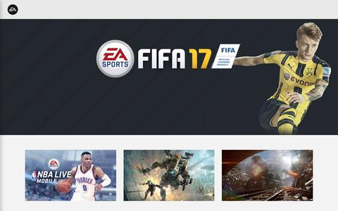 Screenshot of Home Page ea.com - Electronic Arts Official Home Page - captured Oct. 1, 2016