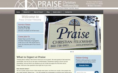 Screenshot of Home Page praisepcf.org - Praise Christian Fellowship, Barkhamsted CT, 860-738-9953 - captured Oct. 3, 2014