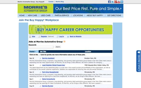 Screenshot of Jobs Page morries.com - Bentley, Cadillac, Ford, Hyundai, Kia, LINCOLN, Maserati, Mazda, Nissan, Subaru St. Louis Park, MN | Automotive Dealership Careers & Jobs at Morrie's Automotive Group - captured Sept. 19, 2014