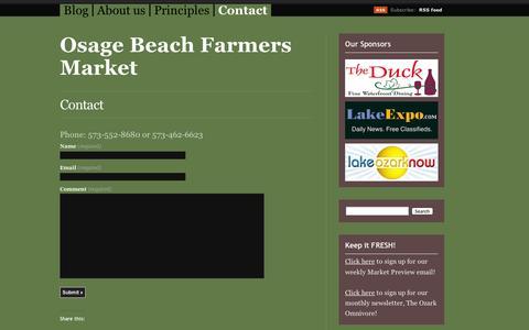 Screenshot of Contact Page wordpress.com - Contact | Osage Beach Farmers Market - captured Sept. 12, 2014