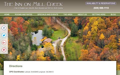 Screenshot of Contact Page Maps & Directions Page innonmillcreek.com - Directions to the Inn on Mill Creek - captured Sept. 19, 2018