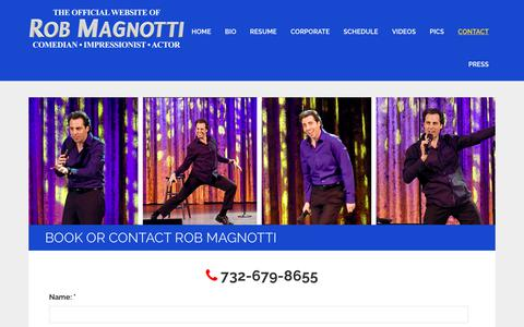 Screenshot of Contact Page robmagnotti.com - Book or Contact Rob Magnotti | Comedian - Impressionist - Actor - captured Nov. 29, 2018