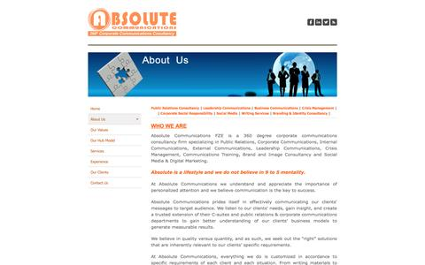 Screenshot of About Page absolutecommunications.ae - About Us - Absolute Communications - captured Feb. 5, 2016