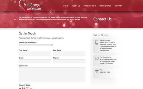 Screenshot of Contact Page fullrangerehab.com - Contact | Full Range Rehab - captured Sept. 30, 2014