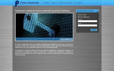Screenshot of Home Page primuscadastral.com.br - Primus Cadastral - captured Sept. 30, 2014