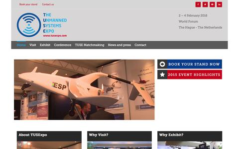 Screenshot of Home Page tusexpo.com - The Unmanned Systems Expo (TUSExpo) | 2-4 February 2016 - captured Feb. 23, 2016