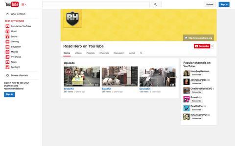 Screenshot of YouTube Page youtube.com - Road Hero on YouTube  - YouTube - captured Oct. 22, 2014
