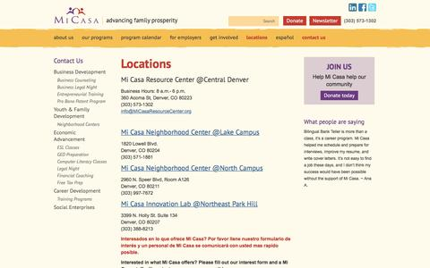 Screenshot of Locations Page micasaresourcecenter.org - Locations   Mi Casa Resource CenterMi Casa Resource Center - captured Aug. 10, 2016