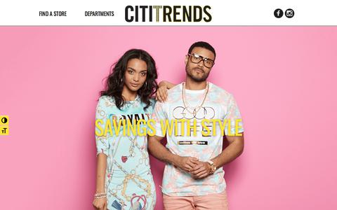 Screenshot of Home Page cititrends.com - Home | Savings with Style - Citi Trends - captured July 18, 2018
