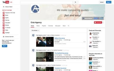 Screenshot of YouTube Page youtube.com - Club Agency  - YouTube - captured Oct. 22, 2014