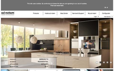 Screenshot of Home Page ad-notam.com - ad notam – Hidden Technologies | Mirror TV, Glass TV, Lighted Mirror TV - captured Feb. 4, 2016