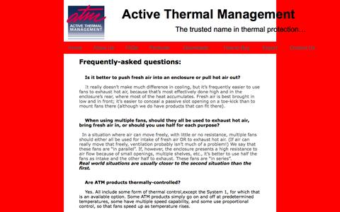 Screenshot of FAQ Page activethermal.com - home theater cooling - captured Nov. 20, 2016
