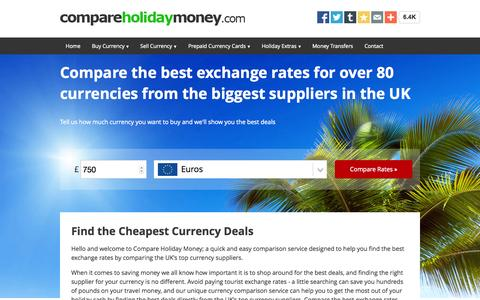 Screenshot of Home Page compareholidaymoney.com - Compare Today's Best Exchange Rates From The UK's Biggest Currency Suppliers - captured Oct. 1, 2015