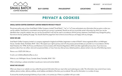 Screenshot of Privacy Page smallbatchcoffee.co.uk - Privacy & Cookies - captured Nov. 12, 2018