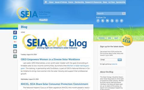 Screenshot of Blog seia.org - Blog | SEIA - captured Sept. 1, 2016