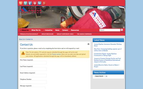 Screenshot of Contact Page amanapipelines.com - Contact Us - Amana Pipeline Construction - captured Oct. 4, 2014