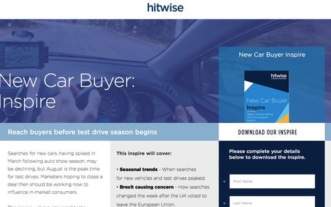 Screenshot of Landing Page connexity.com - Hitwise | New Car Buyer Inspire - captured Sept. 19, 2018