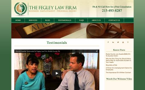 Screenshot of Testimonials Page fegleylaw.com - Client Testimonials   The Fegley Law Firm   The Fegley Law Firm - captured April 12, 2016