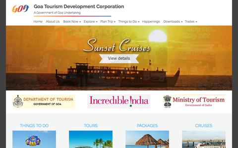 Screenshot of Home Page goa-tourism.com - GTDC - captured March 20, 2018