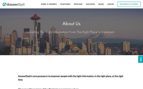 Screenshot of About Page answerdash.com - About AnswerDash — - captured Feb. 14, 2019