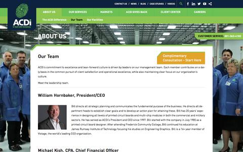 Screenshot of Team Page acdi.com - Leadership Team | Client Satisfaction & Operational Excellence - captured Oct. 6, 2017