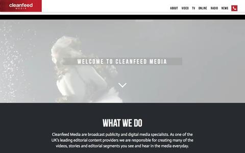 Screenshot of Home Page cleanfeedmedia.co.uk - Cleanfeed - Broadcast PR Specialists - captured May 18, 2017