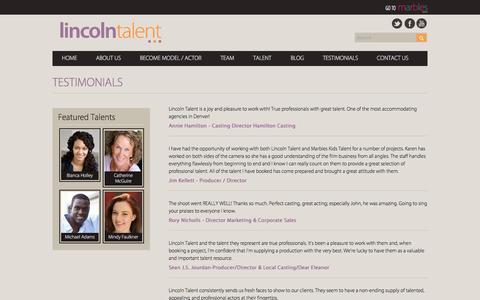 Screenshot of Testimonials Page lincolntalent.com - Testimonials - captured Oct. 27, 2014