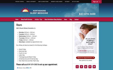 Screenshot of Hours Page nssleep.com - Hours   Northshore Sleep Medicine - captured Nov. 14, 2017