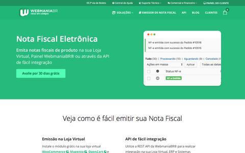 Screenshot of Home Page webmaniabr.com - WebmaniaBR® - Soluções Fiscais e de Software para sua empresa - captured Sept. 21, 2018