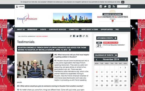 Screenshot of Testimonials Page facchouston.com - Testimonials | French-American Chamber of Commerce - Houston Chapter - captured Nov. 3, 2014