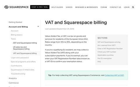 Screenshot of Support Page squarespace.com - VAT and Squarespace billing – Squarespace Help - captured Feb. 11, 2019