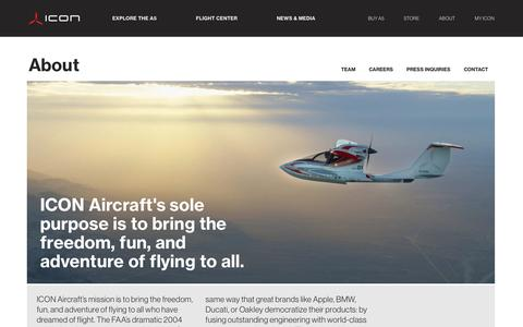 Screenshot of About Page iconaircraft.com - About - ICON Aircraft - captured July 3, 2016