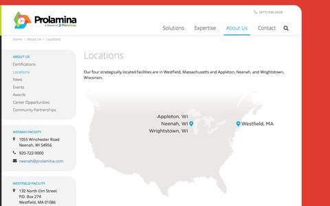 Screenshot of Locations Page prolamina.com - Tour Our Locations | Neenah, Westfield & Terrebonne | Prolamina - captured May 21, 2017