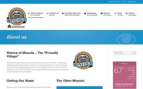 Screenshot of About Page mineolachamber.com - About us | Mineola Chamber of Commerce - captured Oct. 6, 2014