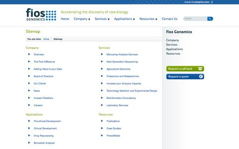 Screenshot of Site Map Page fiosgenomics.com - Terms & Conditions - Fios Genomics - captured Oct. 6, 2014