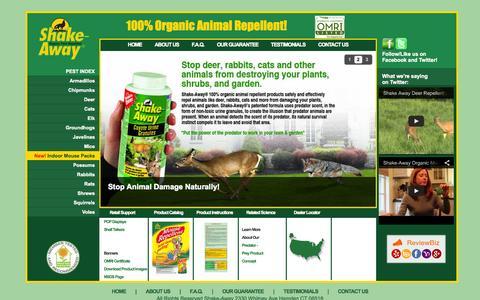 Screenshot of Home Page shake-away.com - Shake-Away Organic Animal Repellent - captured Oct. 7, 2014