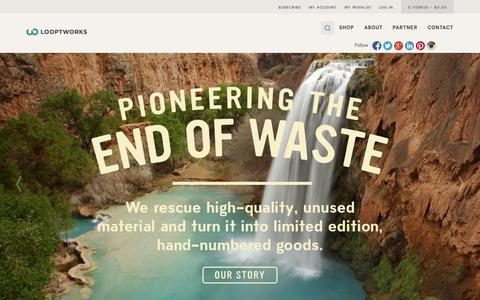 Screenshot of About Page looptworks.com - About Upcycling and the Looptworks Mission | Looptworks - captured Sept. 22, 2014
